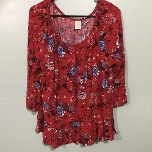 Faded Glory Plus Red Floral Boho Blouse